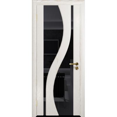 Ульяновская дверь Веста ясень белый золото стекло триплекс черный