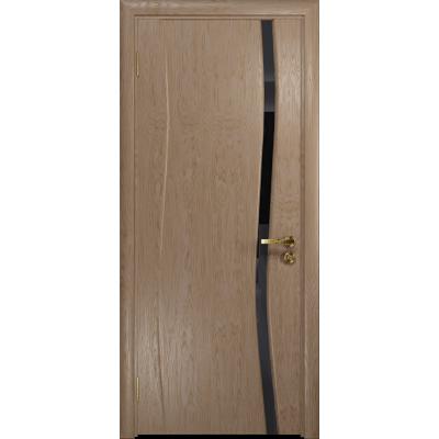 Ульяновская дверь Грация-1 дуб стекло триплекс черный