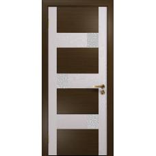 Ульяновская дверь Ронда-1 венге/ясень белый стекло триплекс белый с тканью