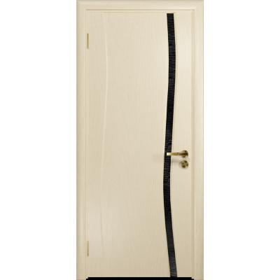 Ульяновская дверь Грация-1 ясень слоновая кость стекло триплекс черный с тканью