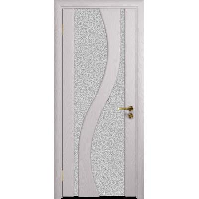Ульяновская дверь Веста ясень белый стекло триплекс белый с тканью