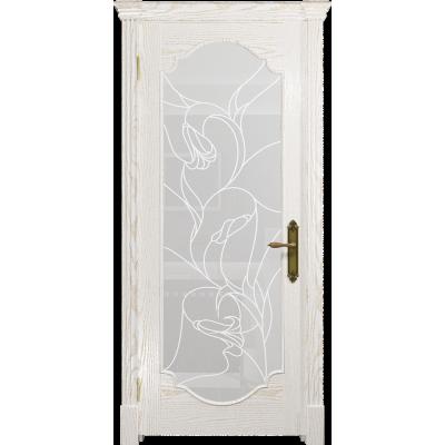 Ульяновская дверь Валенсия-2 ясень белый золото стекло белое пескоструйное «кампанелла»