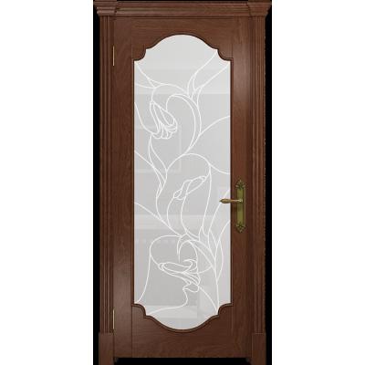 Ульяновская дверь Валенсия-2 красное дерево стекло белое пескоструйное «кампанелла»