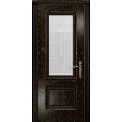 Ульяновская дверь Версаль-1 Декор ясень венге золото стекло белое с гравировкой «кардинал»