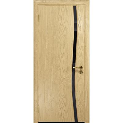 Ульяновская дверь Грация-1 ясень ваниль стекло триплекс черный