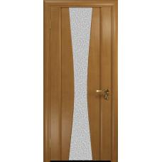 Ульяновская дверь Соната-2 анегри стекло триплекс белый с тканью