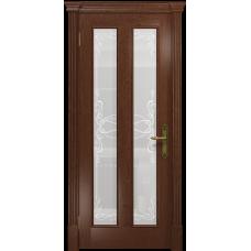 Ульяновская дверь Неаполь красное дерево стекло белое пескоструйное «порта»