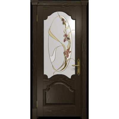 Ульяновская дверь Валенсия-1 ясень венге стекло витраж «овал»