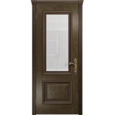 Ульяновская дверь Версаль-1 американский орех стекло белое с гравировкой «кардинал»