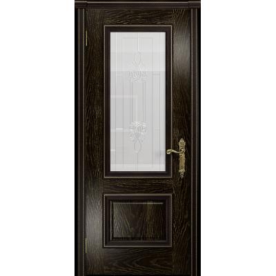 Ульяновская дверь Версаль-1 ясень венге золото стекло белое пескоструйное «кардинал»