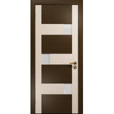Ульяновская дверь Ронда-2 абрикос/дуб беленый стекло триплекс белый