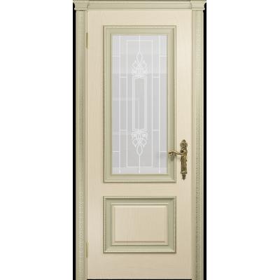Ульяновская дверь Версаль-1 Декор ясень слоновая кость стекло белое пескоструйное «кардинал»