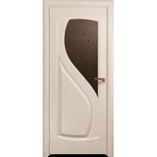 Ульяновская дверь Диона-1 дуб беленый стекло бронзовое пескоструйное «лилия»