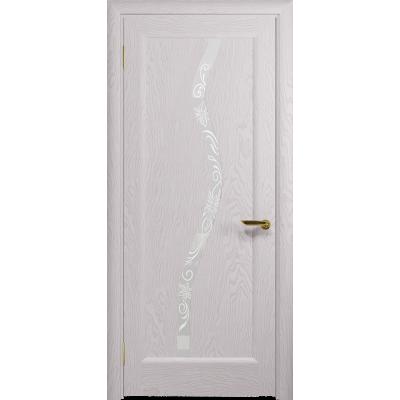Ульяновская дверь Миланика-4 ясень белый стекло белое пескоструйное «миланика-4»