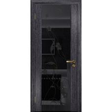 Ульяновская дверь Триумф-3 абрикос стекло триплекс черный «вьюнок» глянцевый