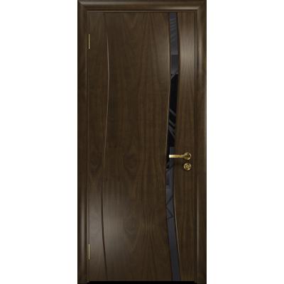 Ульяновская дверь Грация-1 американский орех тонированный стекло триплекс черный 3d «куб»