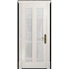 Ульяновская дверь Неаполь ясень белый золото стекло белое пескоструйное «порта»