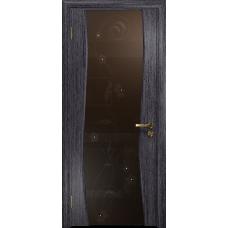Ульяновская дверь Грация-3 абрикос стекло триплекс бронзовый «вьюнок» глянцевый