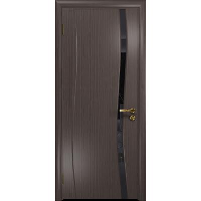 Ульяновская дверь Грация-1 эвкалипт стекло триплекс черный «вьюнок» глянцевый