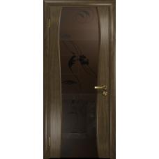 Ульяновская дверь Портелло-2 американский орех стекло триплекс бронзовый «вьюнок» матовый