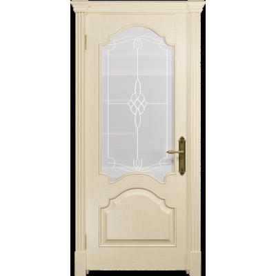 Ульяновская дверь Валенсия-1 ясень слоновая кость стекло белое пескоструйное «корено»