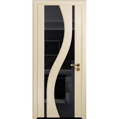 Ульяновская дверь Веста ясень слоновая кость стекло триплекс черный
