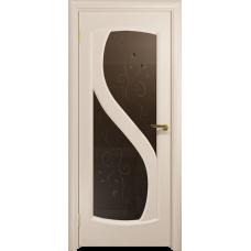 Ульяновская дверь Диона-2 дуб беленый стекло бронзовое пескоструйное «лилия»