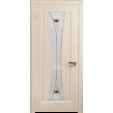 Ульяновская дверь Соната-1 дуб беленый стекло витраж «тюльпан»