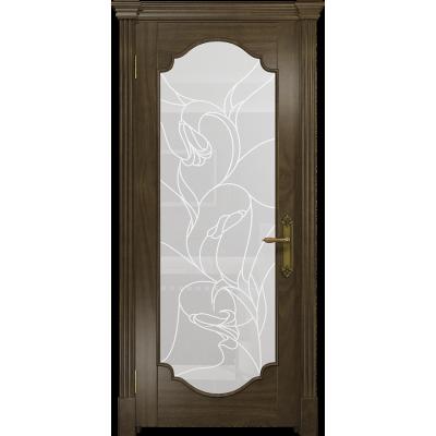 Ульяновская дверь Валенсия-2 американский орех стекло белое пескоструйное «кампанелла»