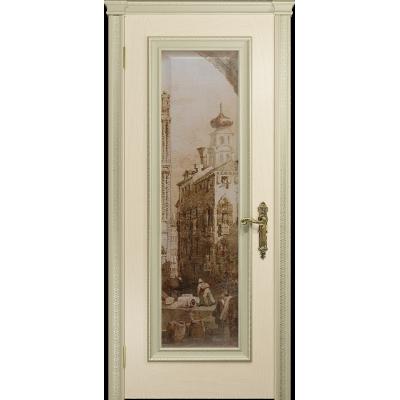 Ульяновская дверь Версаль-5 Декор ясень слоновая кость стекло цифровая фреска