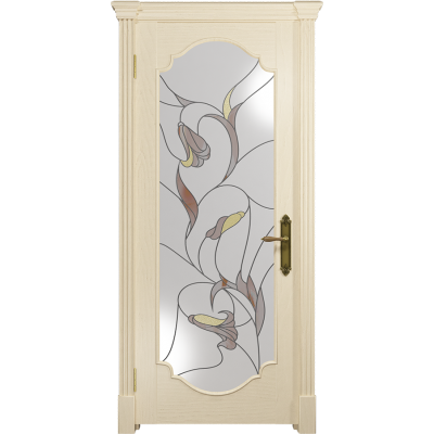 Ульяновская дверь Валенсия-2 ясень слоновая кость стекло витраж «кампанелла»