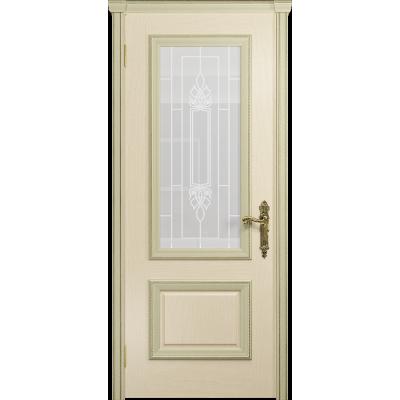 Ульяновская дверь Версаль-1 ясень слоновая кость стекло белое пескоструйное «кардинал»