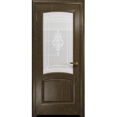 Ульяновская дверь Ровере американский орех стекло белое пескоструйное «верано»