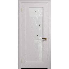 Ульяновская дверь Торино ясень белый стекло белое пескоструйное «рами»