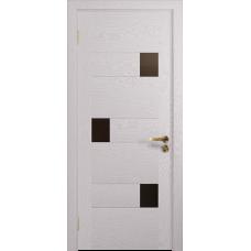 Ульяновская дверь Ронда-1 ясень белый стекло триплекс бронзовый