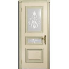 Ульяновская дверь Версаль-2 Декор ясень слоновая кость стекло белое пескоструйное «версаль-2»