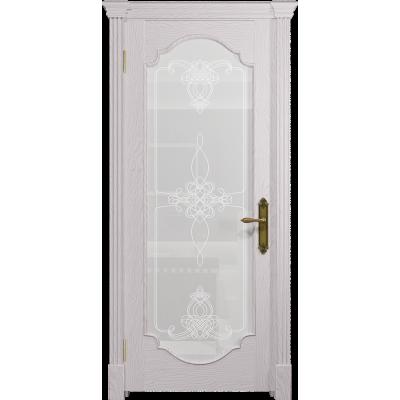 Ульяновская дверь Валенсия-2 ясень белый стекло белое пескоструйное «валенсия»
