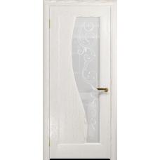 Ульяновская дверь Фрея-1 ясень белый золото стекло белое пескоструйное «сабина»