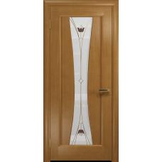 Ульяновская дверь Соната-1 анегри стекло витраж «тюльпан»