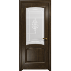 Ульяновская дверь Ровере американский орех тонированный стекло белое пескоструйное «верано»
