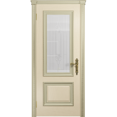 Ульяновская дверь Версаль-1 Декор эмаль слоновая кость стекло белое с гравировкой «кардинал»