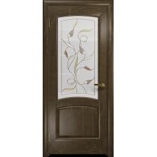 Ульяновская дверь Ровере американский орех стекло витраж «ангел»