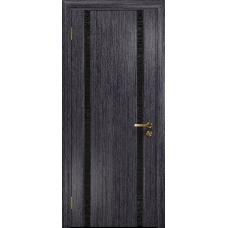 Ульяновская дверь Триумф-2 абрикос стекло триплекс черный с тканью