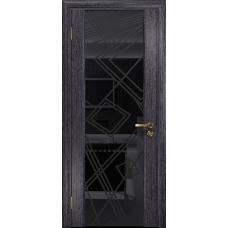 Ульяновская дверь Триумф-3 абрикос стекло триплекс черный 3d «куб»
