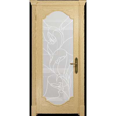 Ульяновская дверь Валенсия-2 ясень ваниль стекло белое пескоструйное «кампанелла»