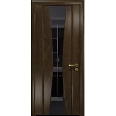 Ульяновская дверь Соната-2 американский орех тонированный стекло триплекс черный с гравировкой «звезда»