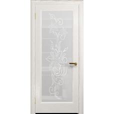 Ульяновская дверь Миланика-1 ясень белый золото стекло белое пескоструйное «миланика-1»