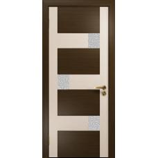 Ульяновская дверь Ронда-2 венге/дуб беленый стекло триплекс белый с тканью