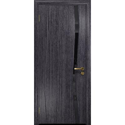 Ульяновская дверь Грация-1 абрикос стекло триплекс черный «вьюнок» глянцевый