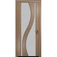 Ульяновская дверь Веста дуб стекло триплекс белый с тканью